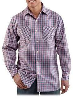 Carhartt Mens S255 Long Sleeve Lightweight Plaid Shirt - Crimson | Buy Now at camouflage.ca