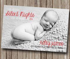 Silent Night Christmas Birth Announcement - Holiday Card - Christmas Photo Card - Digital You Print File - Printable