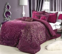 Amazon.com - Chic Home 8-Piece Lakhani Comforter Set, Queen, Plum