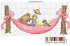 A teddy bear over the hamaca - free cross stitch patterns crochet knitting amigurumi Baby Cross Stitch Patterns, Cross Stitch For Kids, Cross Stitch Boards, Cross Stitch Baby, Cross Stitch Animals, Cross Stitch Designs, Baby Embroidery, Cross Stitch Embroidery, Embroidery Patterns
