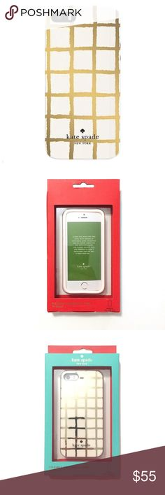 🎁 Kate Spade Gold Check iPhone SE 5/5S Case BNIB  Flexible hardshell case. This fits the new iPhone SE and the iPhone 5 and 5S. The exterior packaging may have some imperfections, but any damage to the box does not affect the product at all.  ❌ Sorry, no trades. kate spade Accessories Phone Cases