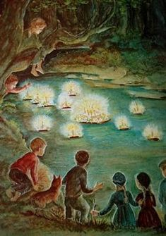 Tasha Tudor's A Time to Keep--the magical moment when the birthday cake comes floating down the river
