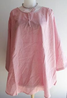 Womens-Woman-Within-Shirt-Tunic-Size-3X-NWOT-Red-White-Striped-Cotton-Blouse