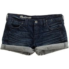 Madewell MADEWELL Denim Midi Shorts In Locomotive Wash ($59) ❤ liked on Polyvore