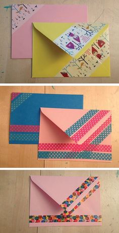 Photo tutorial how to decorate a boring envelope with fun (masking/washi) tape. From Chri Stine Washi Tape Cards, Washi Tape Diy, Masking Tape, Washi Tapes, Decorated Envelopes, Handmade Envelopes, Diy Envelope, Envelope Design, Mail Art Envelopes