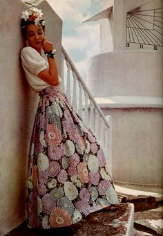 Harper's Bazaar 1939 late 30s early 40s war era WWII vintage fashion style Mexican ethnic boho long maxi skirt floral black pink white blue white peasant blouse
