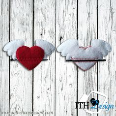 Free winged heart bobby pin cover embroidery design - great for Valentine's Day!!