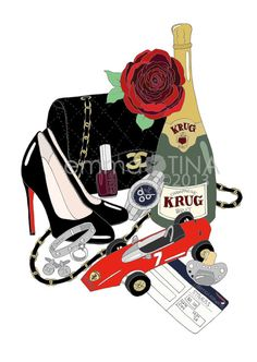 Custom What's in my Bag Illustration by emmakisstina on Etsy