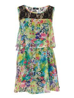 Floral Layered Chiffon Dress Multi-colour
