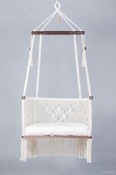 Macrame Hanging Chair in Cream. Dark wood Hanging Chair in Macrame. Macrame Hanging Chair, Macrame Chairs, Diy Hanging, Hanging Chairs, Swing Chairs, Garden Chairs, Beach Chairs, Patio Chairs, Outdoor Chairs