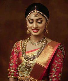 - - in 2020 Bridal Sarees South Indian, Bridal Silk Saree, Indian Bridal Outfits, Indian Bridal Fashion, Saree Wedding, Wedding Bride, Wedding Saree Blouse Designs, Half Saree Designs, Pattu Saree Blouse Designs