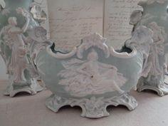 Antike JARDINIERE mit Väschen Art Nouveau Frankreich