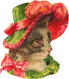 lovely vintage scrap of miss kitty in pink and green fancy hat
