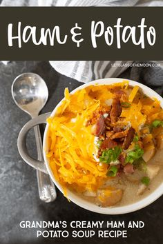 This creamy ham and potato soup recipe is a family favorite passed down from Grandma. This potato soup recipe is perfect for a chilly day; it is literally comfort food in a bowl. My kids love this recipe! Classic Potato Soup Recipe, Basic Soup Recipe, Cream Of Potato Soup, Loaded Potato Soup, Homemade Egg Noodles, Grilled Ham, Sunday Dinner Recipes, Ham Soup, Slow Cooker Beef