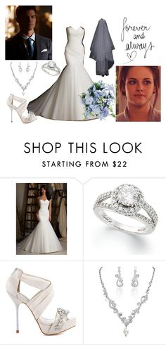 """isabella gilbert and elijah mikaelson wedding"" by harlie-timmons ❤ liked on Polyvore featuring moda, David Tutera, women's clothing, women, female, woman, misses i juniors"