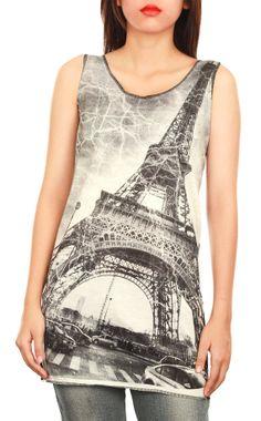 Black Top Tank  Mini Dress  Eiffel Tower Screenprint  by TopCloset, $15.99