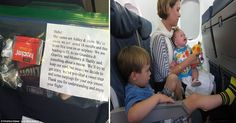 Parents with babies are giving out sweet treats and ear buds to fellow plane passengers - and one mom finds it offensive.