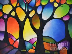 Large Colorful Original Abstract Painting Commission, Geometric Landscape Tree Painting, Large Wall Art, Abstract Tree Painting, Sunset Art – Famous Last Words Tree Of Life Painting, Abstract Landscape Painting, Landscape Paintings, Abstract Art, Abstract Trees, Geometric Painting, Geometric Art, Landscape Art, Tree Paintings