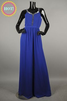 *** New Style *** Classy Sleeveless Maxi Dress with Slimming Cinched Waist Featuring Embellished Trim Neckline.