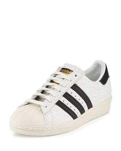 X39TP Adidas Superstar '80s Classic Snake-Cut Sneaker, White/Black
