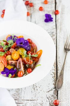 Tomato salad with basil oil