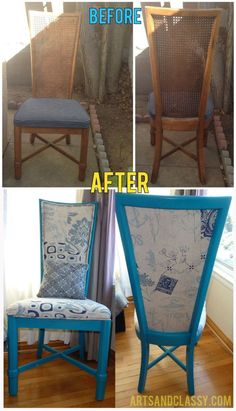 Cane Back Chair Makeover. Can you believe someone had thrown this chair out? www.artsandclassy.com #ChairsDIY