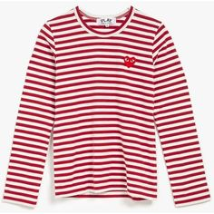 Comme des Garcons Women's Striped L/S Tee featuring polyvore, fashion, clothing, tops, t-shirts, striped long sleeve tee, red striped t shirt, red striped tee, red t shirt and striped t shirt