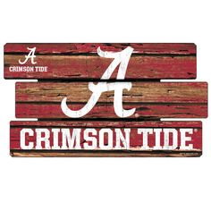 Alabama Crimson Tide 3 Plank Wood Logo Sign (Crimson)