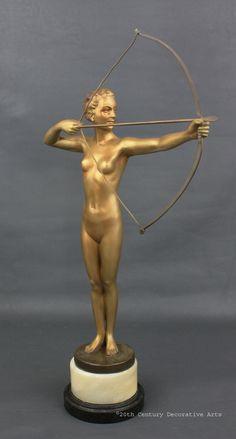 """German Art Deco spelter figure """"Diana"""" 1930s"""