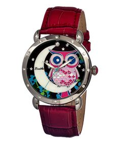 Love this Silver & Red Ashley Mother-of-Pearl Owl Leather-Strap Watch on #zulily! #zulilyfinds