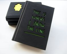 Notebook  'This is where i draw the line' - with a laser cut cover. $12,50, via Etsy.