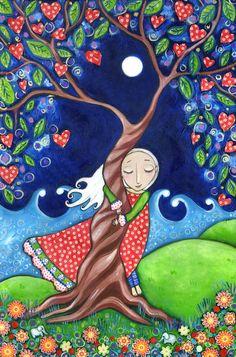 Tree hugger print folk art painting womens wall by LindyLonghurst