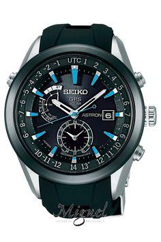 Reloj Seiko Astron GPS Solar de hombre, en acero y correa de caucho negra SAST009G