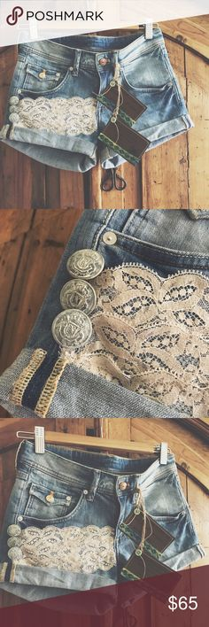 """Detailed Denim Shorts I create , design jewelry&  have a passion for altering my clothing.Each piece  is created using gently upcycled wares and materials , and comes with hangtags .Irregularities add to the uniqueness of the vintage ware and sold as is .Each piece is a """"One of a kind"""" design. Denim shorts with details of vintage lace and vintage brass buttons. Buttons have been given a creamy patina finish . Unique design . Cannot model these do not fit me. Measurements upon request…"""