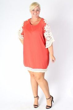 8f8cc0a2e62 Plus Size Clothing for Women - Crochet Shift Dress - Coral (Sizes 14 - -  Society+ - Society Plus - Buy Online Now!