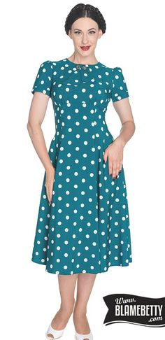 The Madden Dress perfectly embodies the style of the 1940s #blamebetty #polkadot #pinupfashion