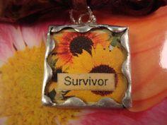 SURVIVOR  Soldered Glass Art Pendant or Charm by victoriacharlotte, $5.75