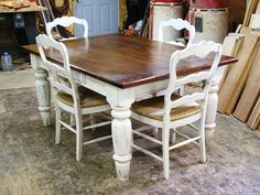 Cherry Wood w White Scrubbed Base and matching chairs