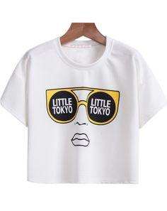 White Short Sleeve Glasses Print Crop T-Shirt - Sheinside.com