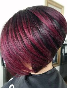 Apr 2018 - There are few styles that can add as much volume to your hair as a stacked hairstyle does. This style, which is typically short or of medium, Short Burgundy Hair, Brown Blonde Hair, Dark Hair, Short Shag Hairstyles, Short Bob Haircuts, Short Hair Cuts, Short Hair Styles, Black Hair With Highlights, Purple Highlights