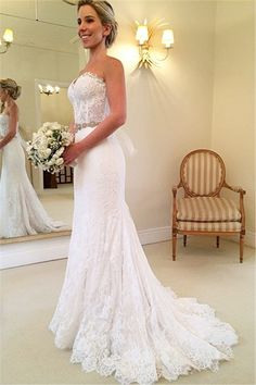 Lace Mermaid Sweetheart Wedding Dresses Crystals Beaded Belt Court Train Bridal…