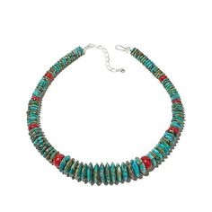 "Turquoise Soul  . . .    Jay King Turquoise and Red Coral 19"" Necklace"