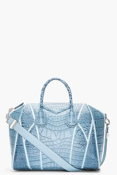 These GIVENCHY Medium Blue Croc-Embossed Leather Antigona Duffle Bag is so beautyfull. I love it so much , but it would be better in black or gray xxx bono Givenchy Handbags, Leather Handbags, Design Bleu, Crocodile Handbags, Blue Purse, Chanel, Beautiful Bags, My Bags, Handbag Accessories