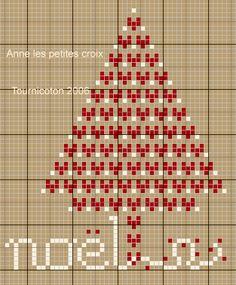 Petit sapin de noël - Anne les petites croix  . beaucoup d'autres petites grilles gratuites sur son blog