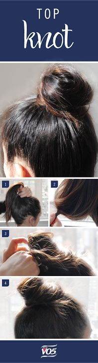 This simple top knot is the perfect way to throw back your hair when you're running late!