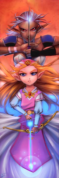 Ocarina of time Zelda and Impa by katizua on deviantART