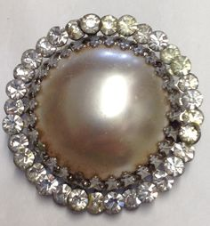 Vintage Pearl and Rhinestone Brooch Pin