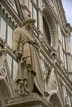 "Antonio Cinotti -- Dante Alighieri in Florence  -  The statue of the ""Divina Commedia"" writer in Santa Croce , Florence, Tuscany, Italy."