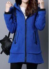 Long Sleeve Zipper Up Pocket Blue Hoodie on sale only US$41.41 now, buy cheap Long Sleeve Zipper Up Pocket Blue Hoodie at liligal.com
