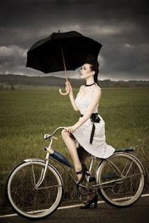 Girl on bike. The dress the umbrella the bike. I want a bike like this! Black Umbrella, Under My Umbrella, Umbrella Art, Photography Career, Fashion Photography, Umbrella Photography, Bike Photography, Color Splash, Color Pop